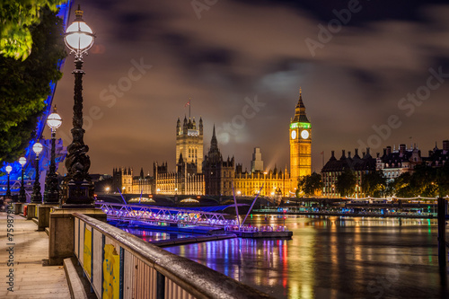 Foto op Canvas Londen Big Ben and Westminster Bridge at night, London, UK