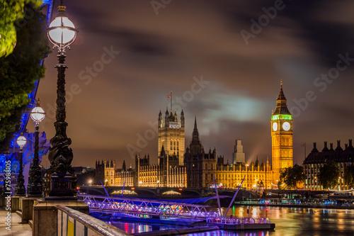 Big Ben et Westminster Bridge de nuit, Londres, Royaume-Uni Tableau sur Toile