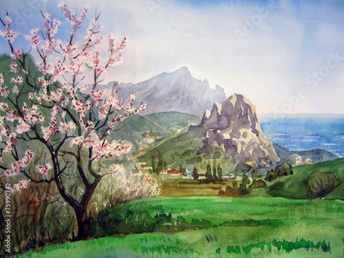plakat Spring landscape.