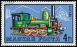 Stamp printed in Hungary shows austrian locomotive