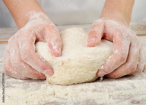 Fotografie, Obraz  Hands in flour closeup kneading dough