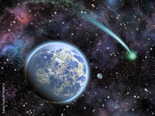 fototapeta na lodówkę Ziemia, Księżyc i świecące zielone Comet