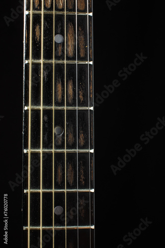 Acoustic Guitar Fretboard Isolated On The Dark Background Buy This