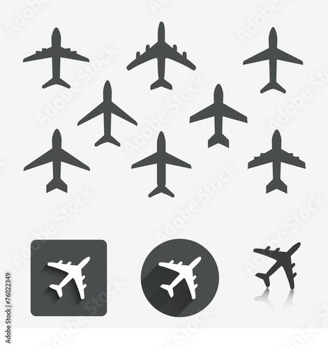 Plane set. Vector illustration. Canvas Print