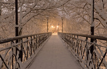 Snow Bridge Under Snow Trees Branches With Street Lamps At Night