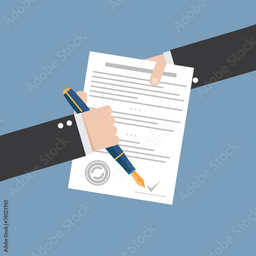 Fotografía  Vector agreement icon - hand signing contract on white paper