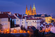 Hradcany with Prague castle during twilight