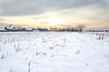 Rural Village Home In Winter T...
