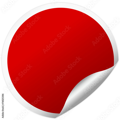 Fotografie, Obraz  red round sticker with shadow
