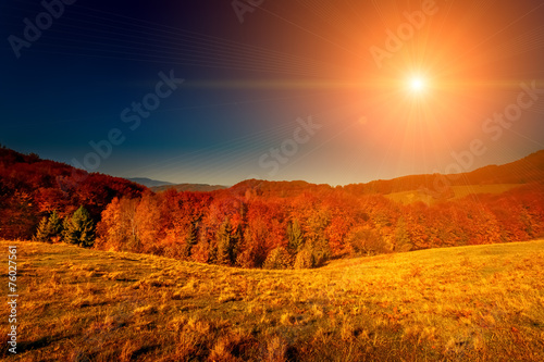Foto op Canvas Baksteen Colorful autumn landscape