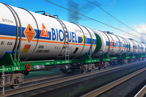 Photo Freight train with biofuel tankcars