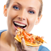 Woman Eating Pizza, Over White