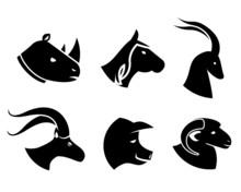 Set Of Black Animal Head Icons