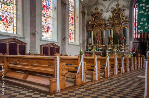 Interior of Roman Catholic parish St. Maurice church in Appenzel Canvas Print