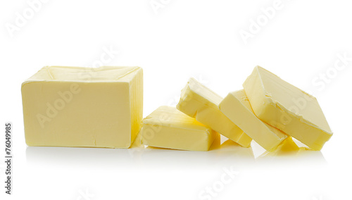 Staande foto Zuivelproducten butter on white background