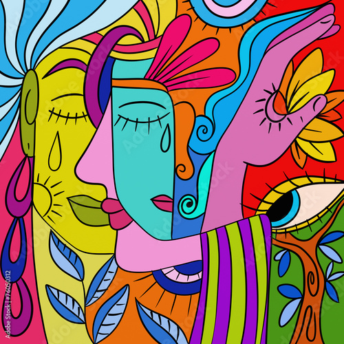 Poster Abstrait antique Abstract with colorful faces