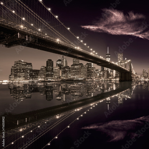 Foto auf Acrylglas Bestsellers Brooklyn Bridge sunset New York Manhattan