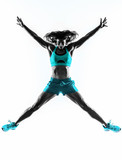 woman fitness jumping  stretching exercises silhouette - 76060358