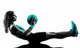 woman fitness Medicine Ball exercises silhouette - 76060383