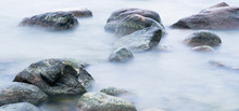 Marine Stones Washed By A Wave, Close Up