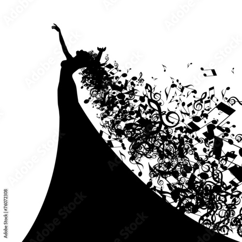 Fotografie, Obraz  Silhouette of Opera Singer with Long Hair Like Musical Notes