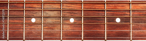 Staande foto Muziekwinkel Acoustic guitar fretboard background