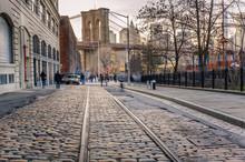 Tram Track On A Cobbled Street In Brooklyn