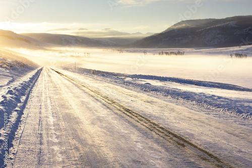 Spoed Foto op Canvas Zuid-Amerika land Icy Road