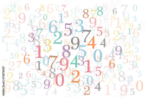 Fotografía  An abstract background with random colorful numbers