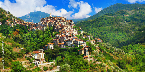 Poster Liguria Apricale - beautiful medieval hill top village .Liguria, Italy