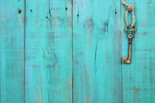 Skeleton Key Hanging On Teal B...