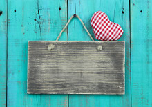 Blank Sign With Heart Hanging On Wood Fence