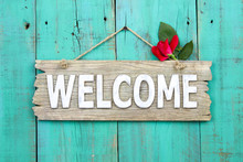 Welcome Sign With Rose Hanging...