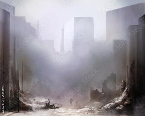 Slika na platnu Daylight ruined city scene battlefield art background with soldiers