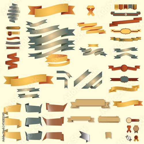 Fototapety, obrazy: web elements ribbons set color
