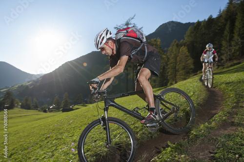 obraz dibond Mountain Biker nurkuje w dół szlak