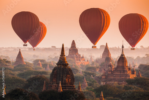 Balloon over plain of Bagan in misty morning, Myanmar Canvas Print