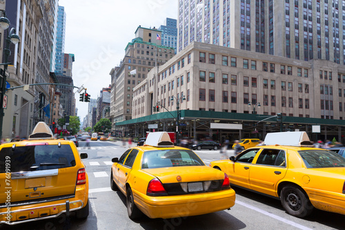 Deurstickers New York TAXI New York city Manhattan Fifth Avenue 5th Av US
