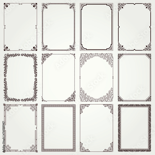 Fotografie, Obraz  Decorative frames and borders A4 proportions set 4