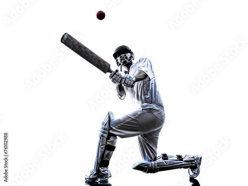 Obraz na płótnie Cricket player  batsman silhouette