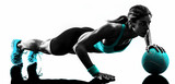woman fitness Medicine Ball exercises silhouette - 76103103