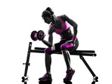 woman fitness  exercises  weights body building silhouette - 76103124