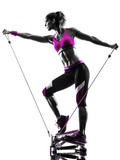 woman fitness stepper resistance bands exercises silhouette - 76103138