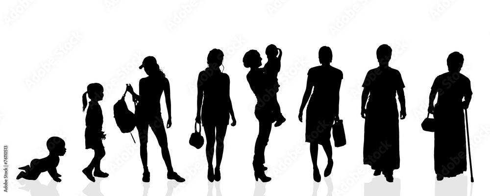 Fototapeta Vector silhouette generation women.