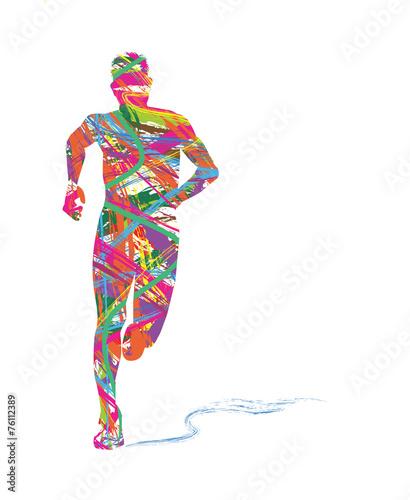 Fotografie, Obraz  silhouette astratta di uomo che corre