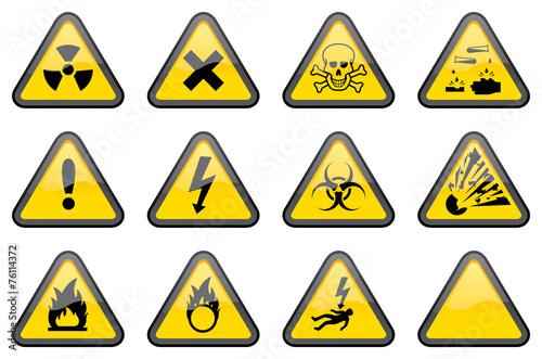 Fotografie, Obraz  Triangular Hazard Signs