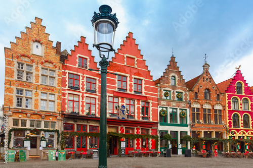 Poster Bridges Christmas Grote Markt square of Brugge, Belgium.