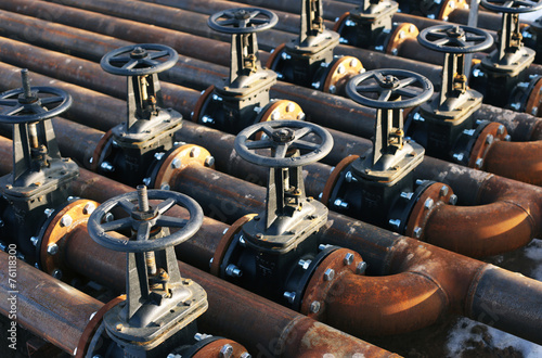 Photo  Oil and gas pipe line valves