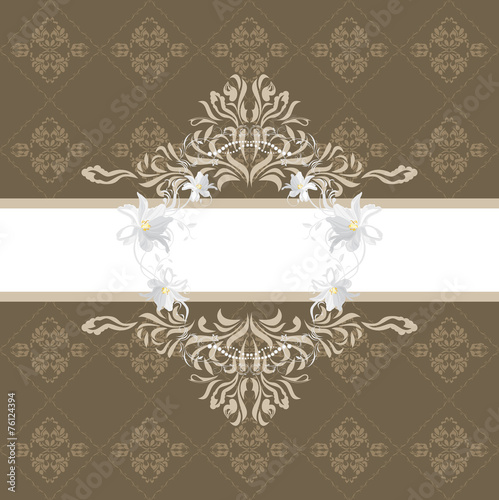 Papiers peints Affiche vintage Ornamental brown background with stylized white flowers