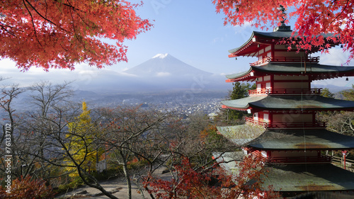 Spoed Foto op Canvas Tokyo Image of the sacred mountain of Fuji in the background of blue s